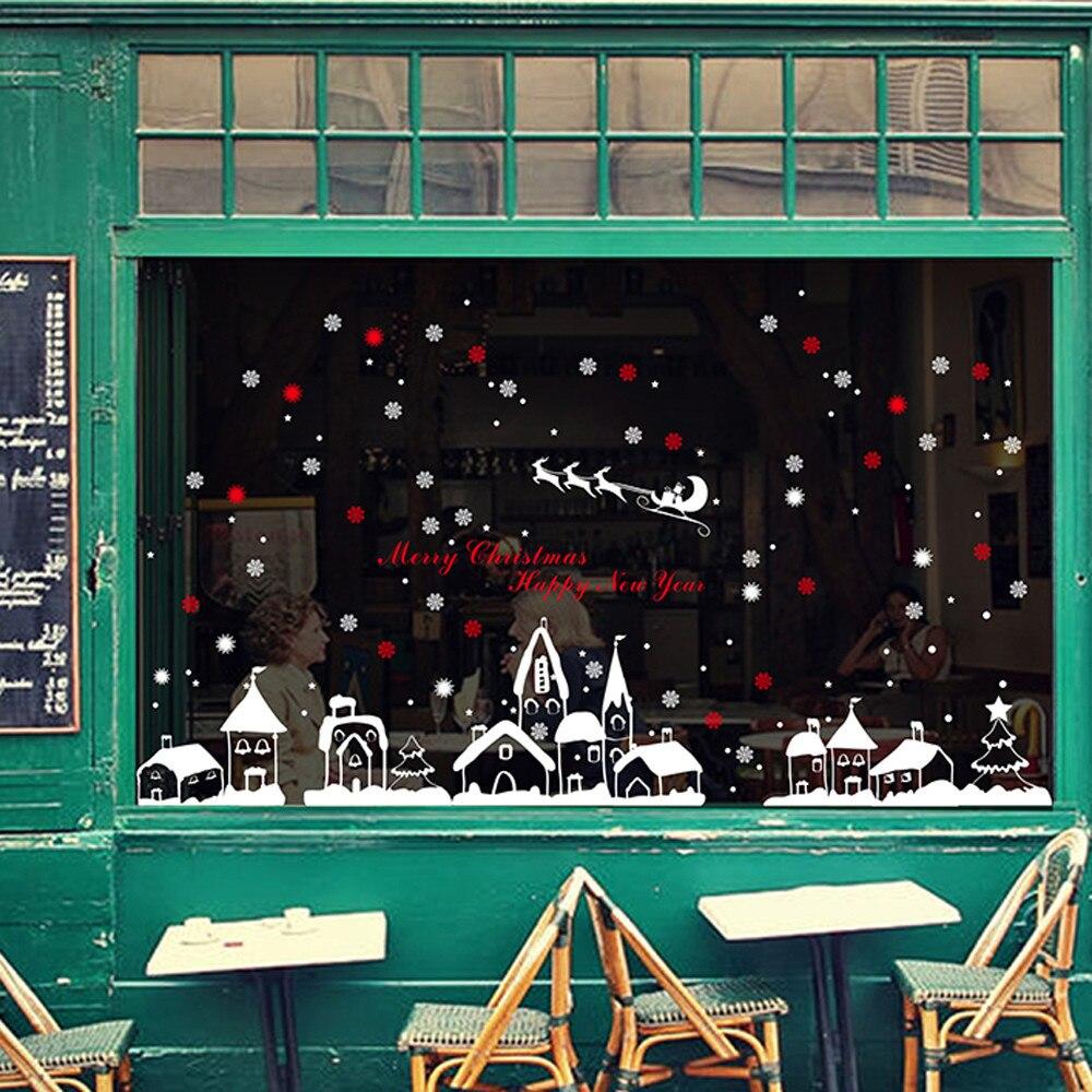 1 stück Neue Weihnachtsdekoration Wandaufkleber Weihnachten Schneeflocken Stadt Über 60*90 cm Schneeflocke Dekoration Decoracion De Navidad 2017 @ GH