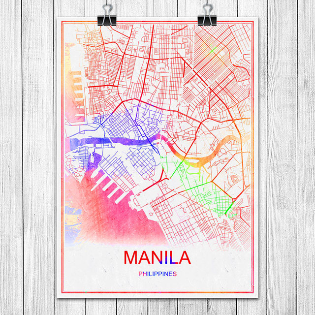 Manila philippines colorful world city map print poster abstract manila philippines colorful world city map print poster abstract coated paper bar cafe living room home gumiabroncs Images