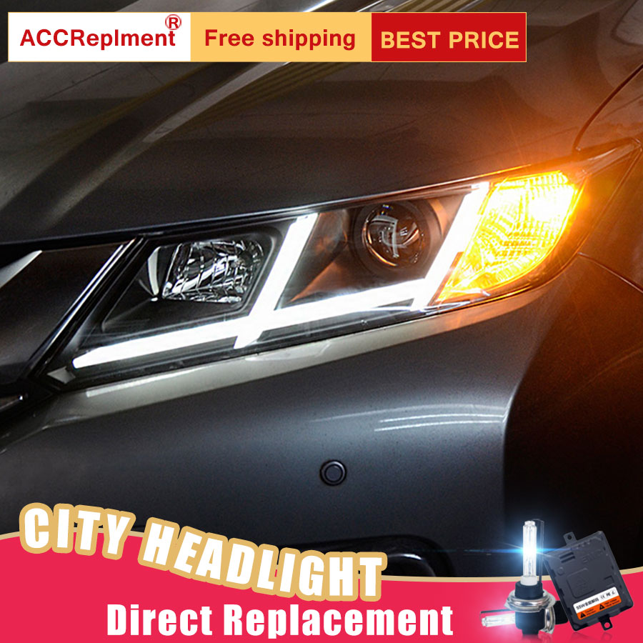 2Pcs LED Headlights For Honda City 2014-2016 led car lights Angel eyes xenon HID KIT Fog lights LED Daytime Running Lights