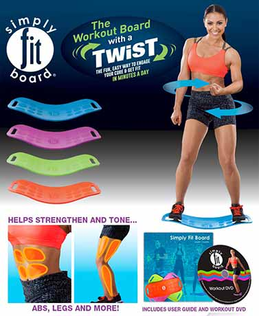 Simply Fit Board Dynamic Lightweight Portable Workout Board With A Twist Strengthen ABS Legs Up To 400lbs 4 Colors