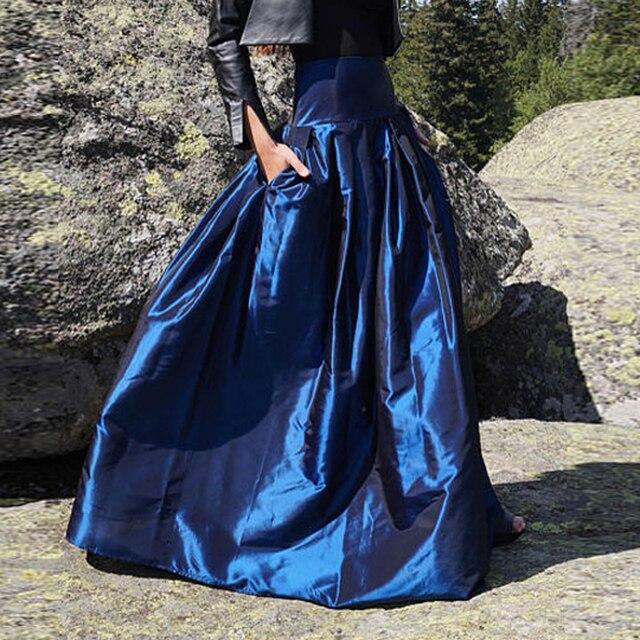 England Style Taffeta Long Skirts For Women Puffy Floor Length Maxi Skirt  With Pockets Wide Waist Pleated Female Skirts Saia 1df21fea2b5