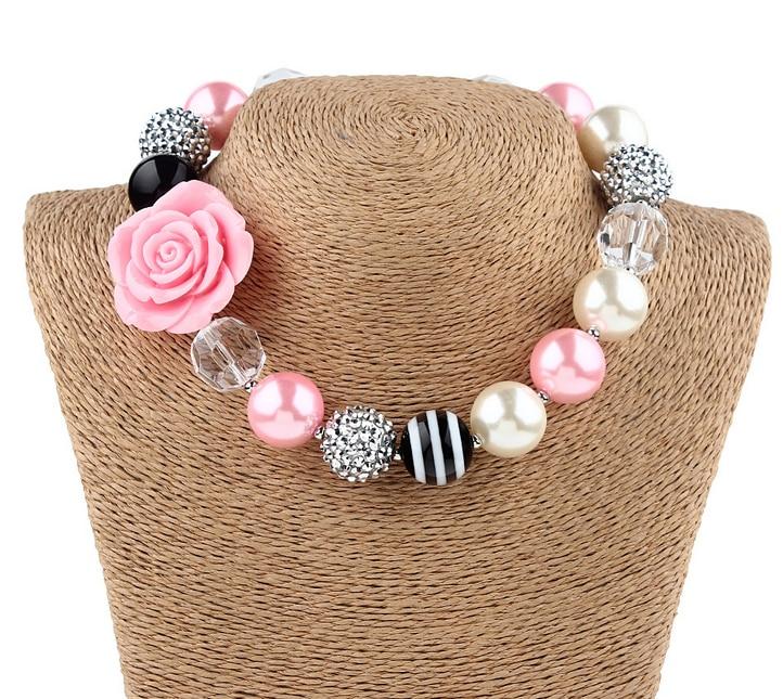 Gadis Indah Pink Flower Beads Chunky Strand Kalung Gelang Set Anak - Perhiasan fashion - Foto 4