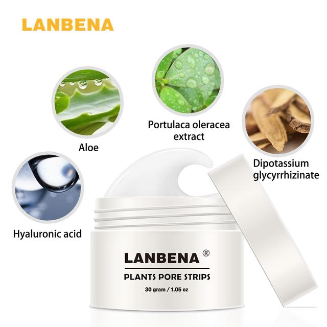 60pcs paper LANBENA Blackhead Remover Nose Mask Pore Strip Black Mask Peeling Anti Acne Treatment Black Deep Cleansing Skin Care