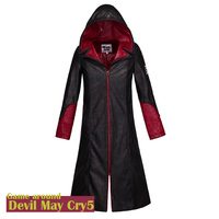 STOCK High Quality Game DMC Devil May Cry 5 PU Leather Hoodie Jacket Dante Wind