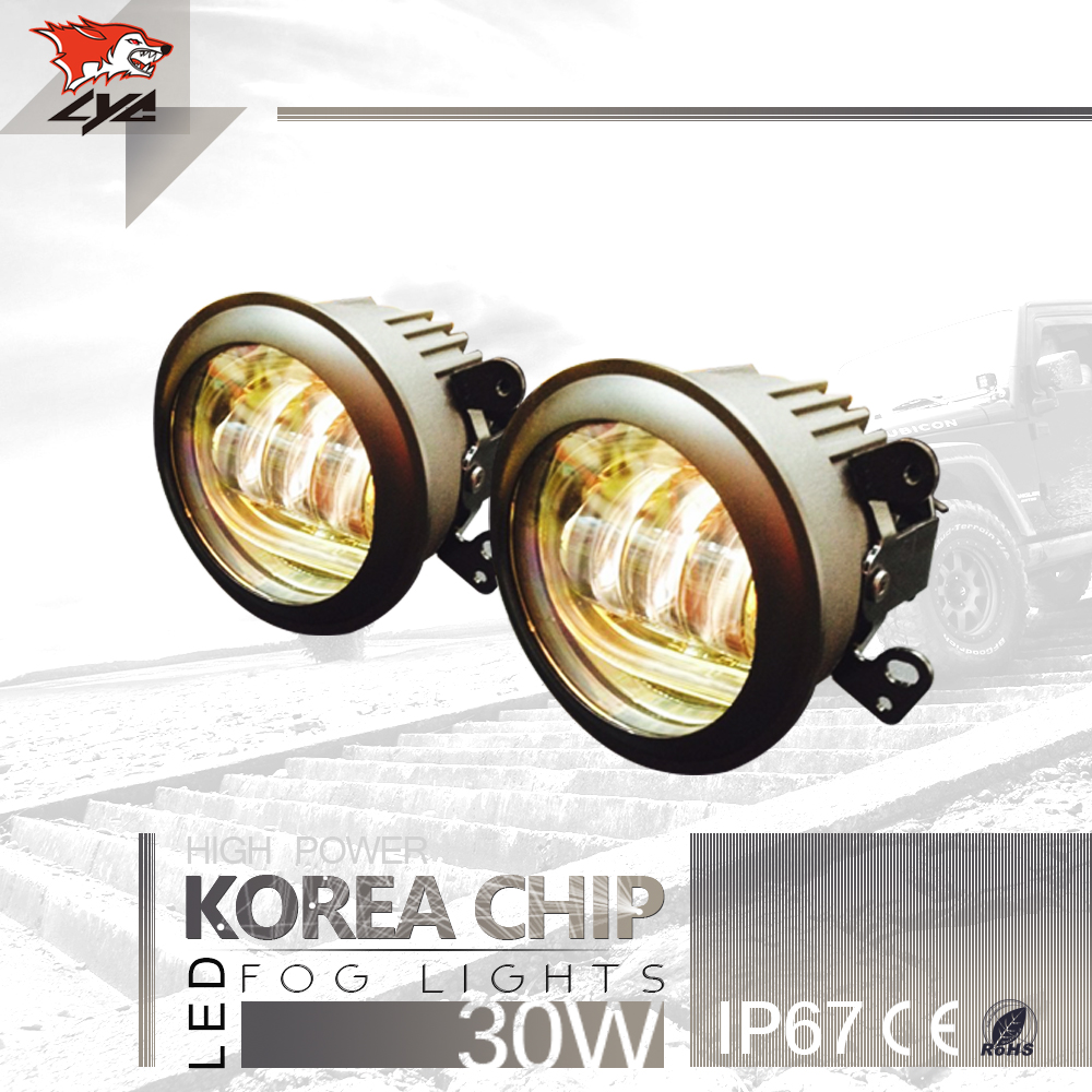 LYC 2 PCS Led Fog Lights for Jeep Wrangler Fog and Lights Auto Headlight Assembly 4  Round Fog Lamp White/Blue/Green/Amber
