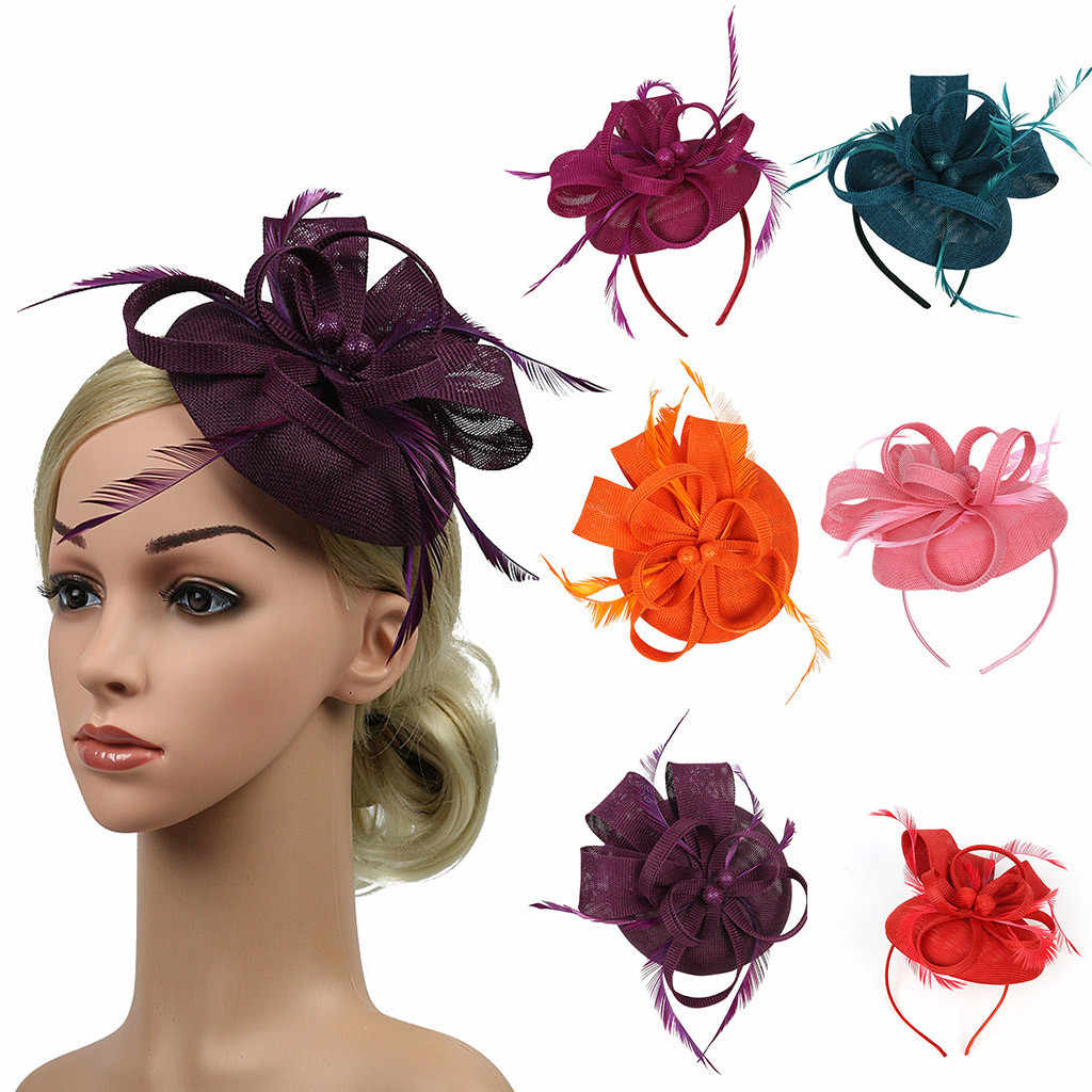Women Hair Clip Feather Wedding Casual Fascinator Headpieces Hat Mesh Headpiece Classic Bridal Floral Church Headwear Handmade