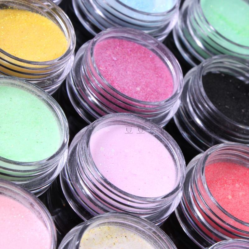 12 Colors Nail Art Acrylic Powder Dust Glitter For UV Gel