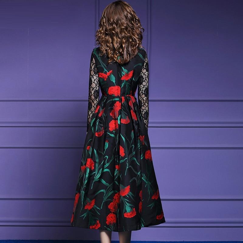 Longue Qualité Imprimé D'hiver Robe De Noël Vintage Plus Robes Ligne Sans Supérieure Manches Parti Femmes 2018 Multi Une New Floral Taille TWPx4at8