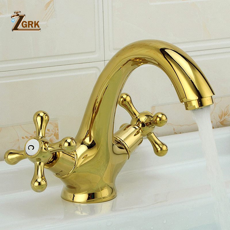 ZGRK Deck Mount смеситель для ванной комнаты с двумя ручками, с одним отверстием, Золотой смеситель раковины, Нефритовая лента, полностью медный мр...