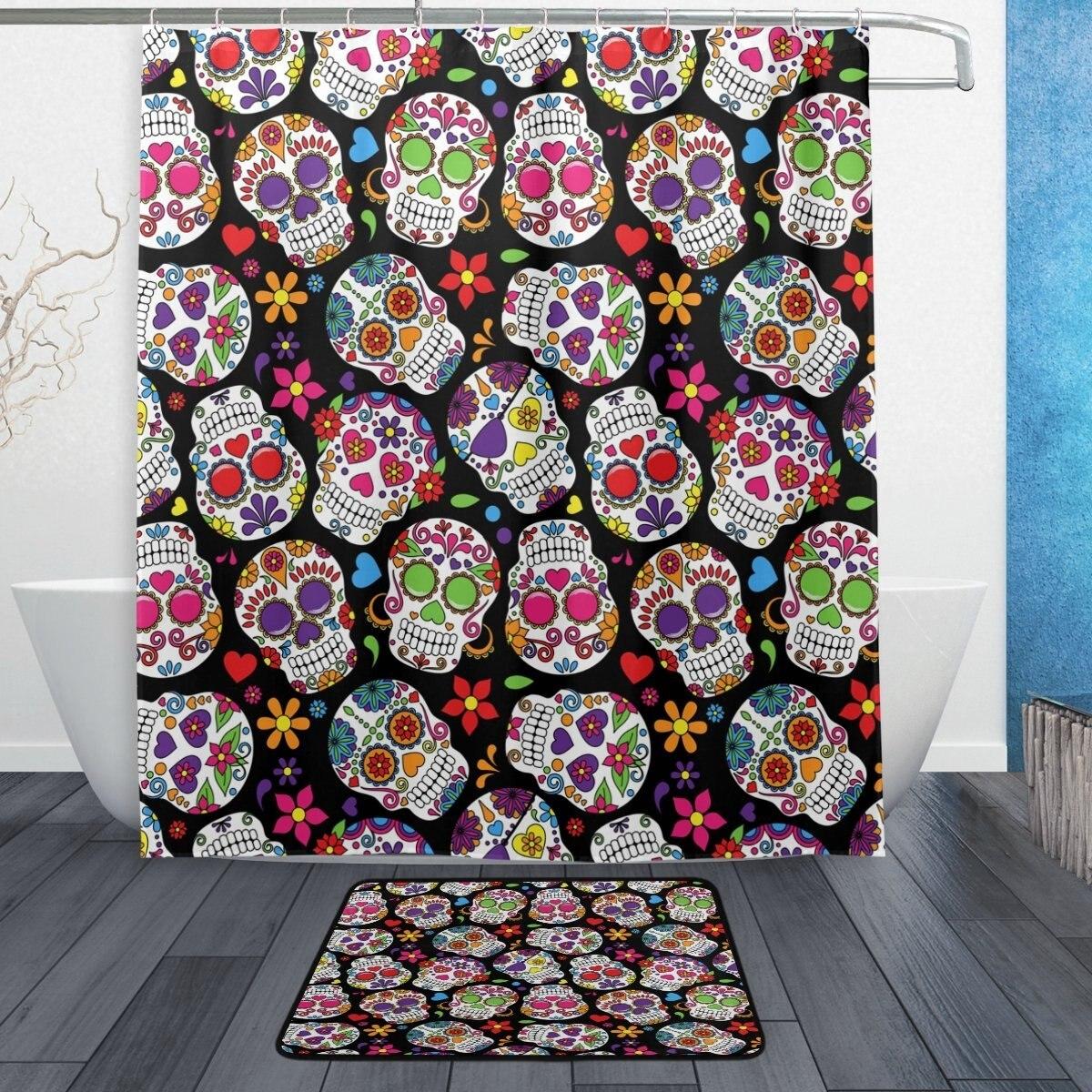 Day of Dead Colorful Flower Sugar Skull Waterproof Polyester Fabric Shower Curtain with Hooks Doormat Bath Floor Mat Bathroom