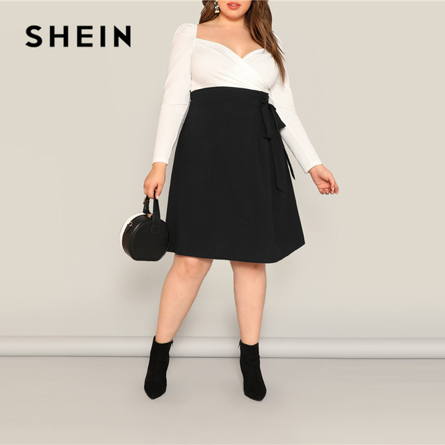 SHEIN Plus Size Black High Waist Tie Side Skirt 2019 Women Spring Knee Length Solid Casual A Line Big Size Skirts With Belt 3