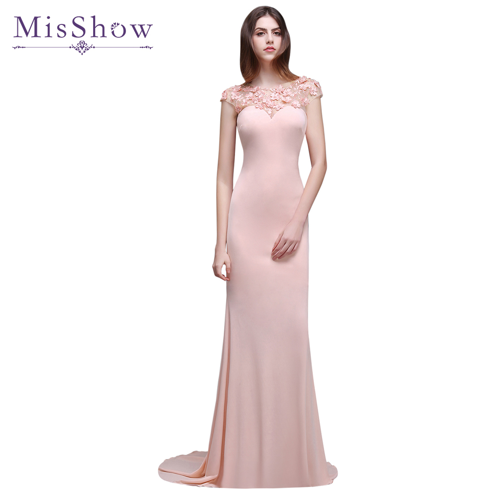 Crazy Price in stock Appliques Pink Crystal Sexy Long Mermaid Evening Dresses Evening Party Dress Gowns