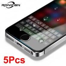 5 pz/lotto Per Vetro su iphone 5s Vetro Temperato per iphone 5 5s 5c se vetro di protezione su iphone 5s galss pellicola della protezione dello schermo