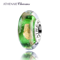 ATHENAIE Genuine Murano Glass 925 Silver Core Hot 18KT Gold Foill Fit All European Bracelets And