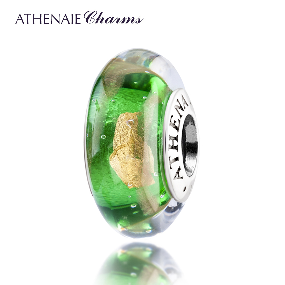 ATHENAIE Genuine Murano Glass 925 Silver Core Hot 18KT Gold Foill Charms Bead Fit All European Bracelets and Necklace