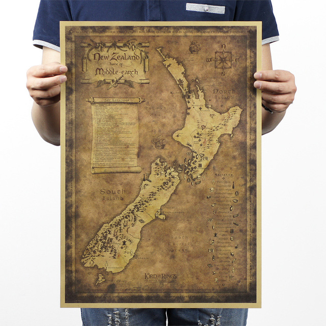Retro vintage poster kraft paper about new zealand mysterious map retro vintage poster kraft paper about new zealand mysterious map painting wall art craft gumiabroncs Gallery
