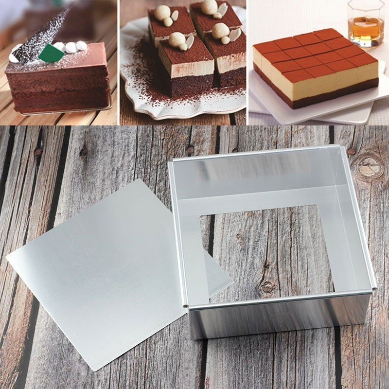 1Pc <font><b>Stainless</b></font> <font><b>Steel</b></font> Square Shape <font><b>Cheese</b></font> Mousse Cake Baking <font><b>Mold</b></font> Sugarcraft Pastry Cookie Bakeware Kitchen Baking Tools image