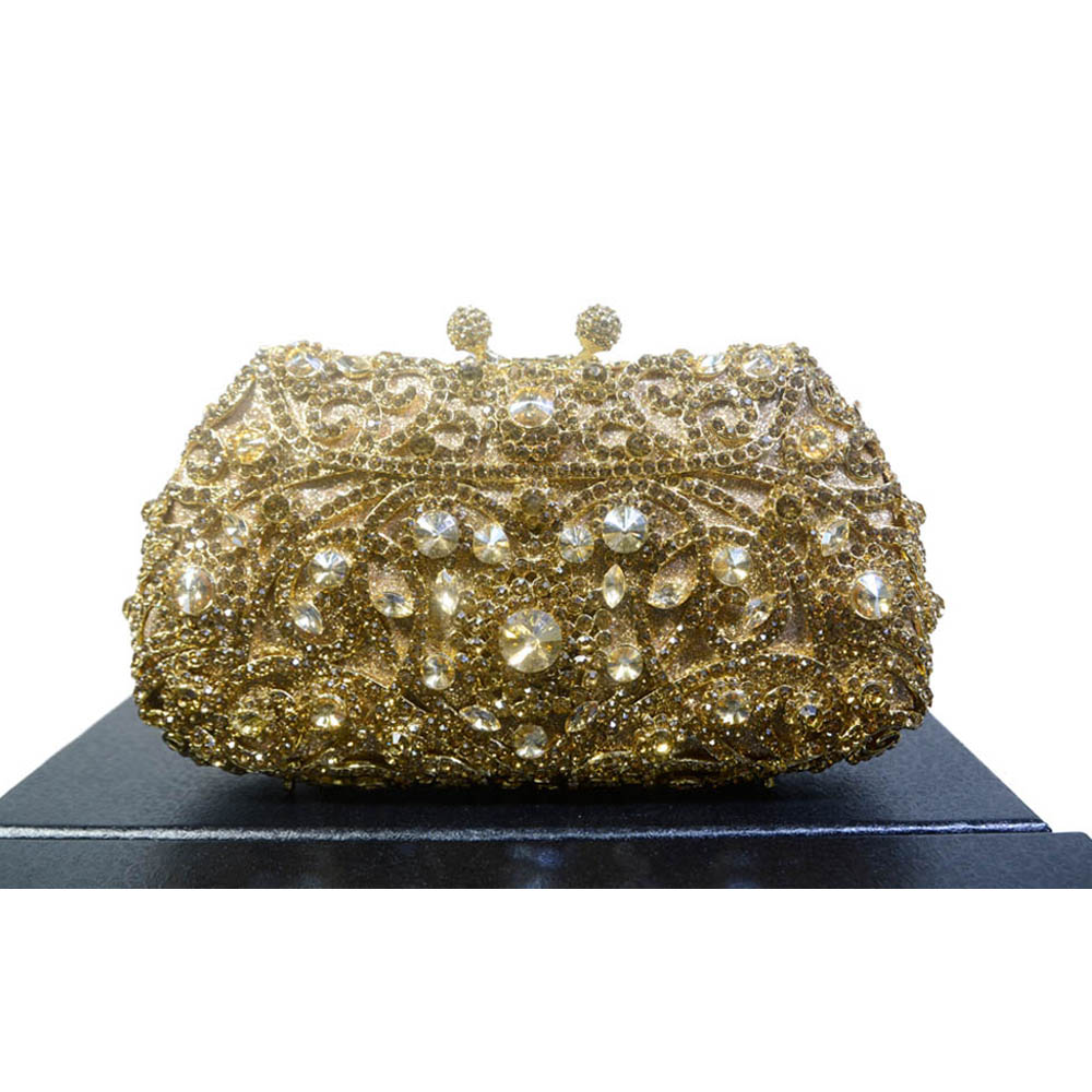2016 New Unique Diamante Bling Crystal Evening Bag Metallic Gold Diamond Handbag Clutch Purse Pochette Party