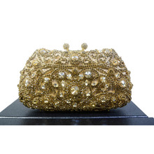 2016 New Unique Diamante Bling Crystal Evening Bag Metallic Gold Diamond Handbag Clutch Purse Pochette Party Evening Bag