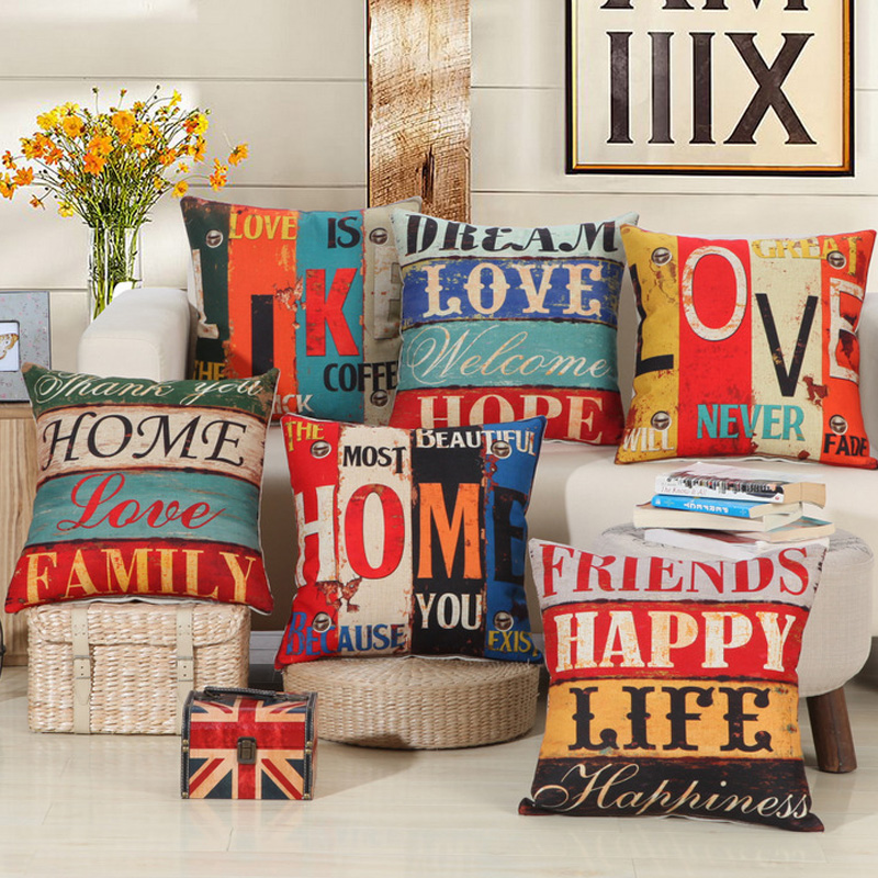 Langlebig Vintage Brief Muster Polsterbezge Kissenbezug Fr Safa Couch Indoor Outdoor Home Decor 45x45 Cm