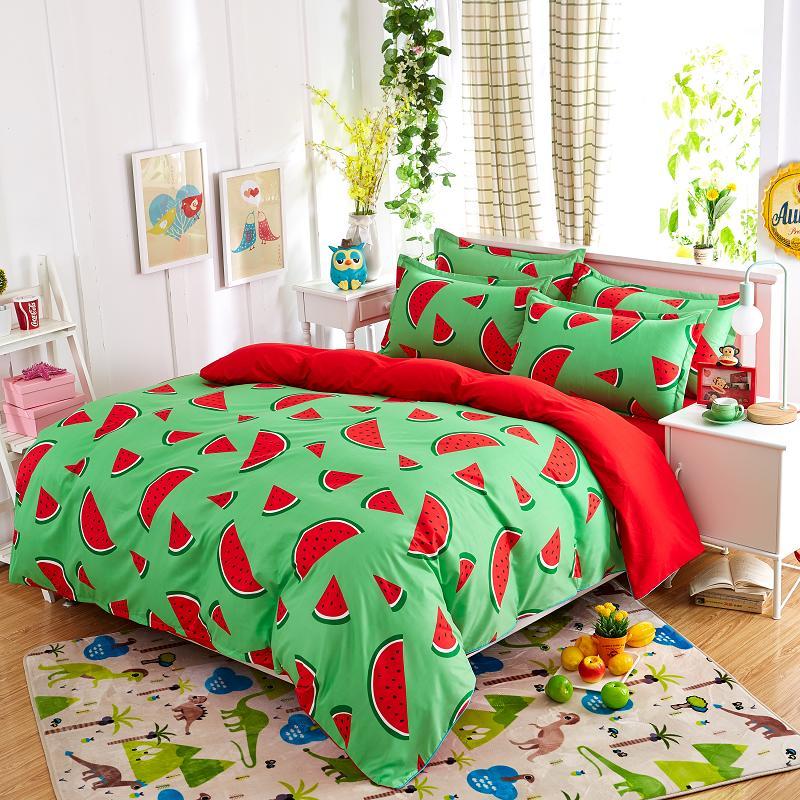New fashion bedding sets Watermelon banana fruit bed sheet quilt ... : bed sheet quilt set - Adamdwight.com