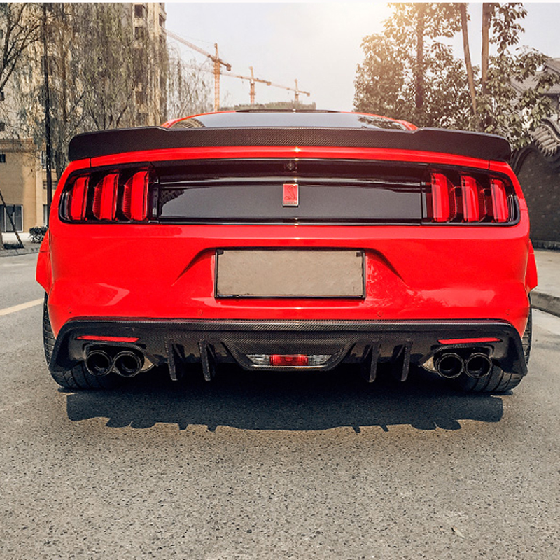 Fit For Ford Mustang Spoiler 2015 2016 2017 2 Door Mustang Car Trunk Decoration Tail Wing Black Carbon Fiber Rear Wing Spoiler for ford mustang spoiler 2015 2016 2017 2 door mustang tail wing decoration abs plastic unpainted primer rear trunk roof spoiler