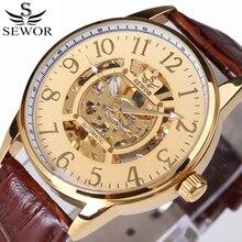 SEWOR haut tendance marque de luxe or squelette montres mécaniques hommes montre-bracelet en cuir bande Sport horloge pour hommes montre automatique