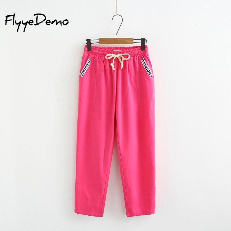 6XL Plus Size 2019 Pants Women High Quality Cotton Linen Pants Casual Elastic Waist Trousers Capris For Women Pantalon Femme