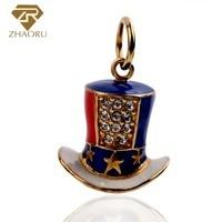Zhaoru 100% 925 Sterling Silver Pendant Women Trendy 925 Silver Charm Bracelet Yellow Gold Fine Top Hat Charm