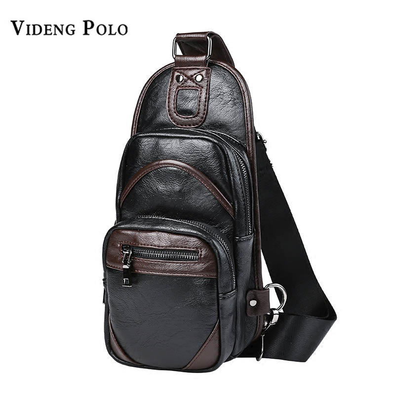 VIDENG POLO Fashion Leather Men Chest Pack Casual Shoulder Strap Bag Vintage Travel Bag Men Crossbody Bags Flap Rucksack Bolsa vintage canvas chest bag men new crossbody shoulder bag multifunction casual travel bag fashion large capacity chest bag for men