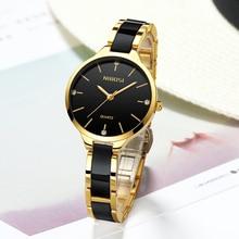 NIBOSI Ceramic Women Watches Luxury Brand Fashion Ladies Rhinestone watch Dress Waterproof Watch Casual Clock Relogio Feminino