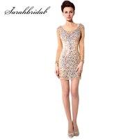 2018 Hot Sexy Sparkling Long Sleeve Cocktail Dresses Tulle Straight V Neck Dress Short Mini Women