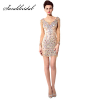 2018 Hot Sexy Sparkling Long Sleeve Cocktail Dresses Tulle Straight V Neck Dress Short Mini Women Party Beading Prom Gowns