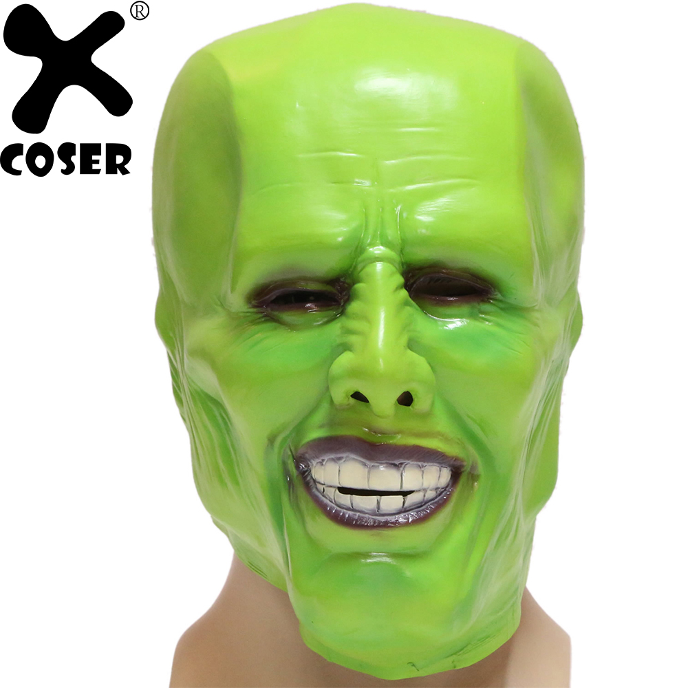 XCOSER Jim Carrey Green Mask Movie Cosplay Props High Quality Resin PVC Green Full Face Masks Costume Accessories Halloween Gift