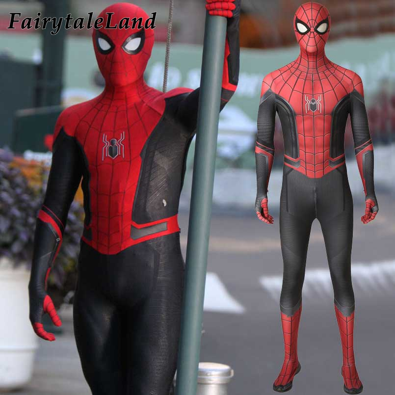 New movie Spider Man far from home Cosplay Costume Superhero Jumpsuit Spider man Fancy Bodysuit spiderman Mask Custom made-in Movie & TV costumes from Novelty & Special Use    1