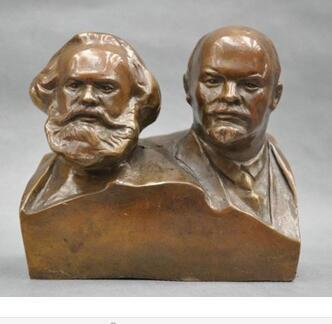 collecting OLD copper decoration brass Old 6'' Elaborate Great Communist Marx And Lenin Bust BRASS Statue sculpture