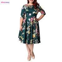 HANZANGL Plus Size Clothing 2017 Spring Summer Women O Neck Half Sleeve Print Dress Ladies Casual
