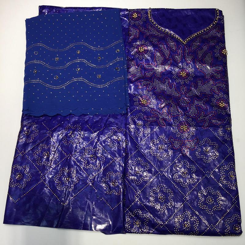 Royal blu bazin riche getzner tessuto africano del merletto per la donna 2019 ankara con perline e pietre tessuto jacquard 7 yard ba350-in Pizzo da Casa e giardino su  Gruppo 1