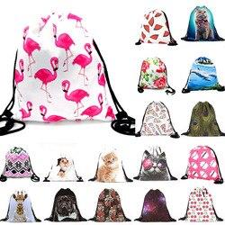 Сумка для хранения с рисунком кота и фламинго, 30x39 см, 1 шт., для мужчин и женщин, дорожный пляжный рюкзак, сумка, игрушки, обувь, органайзер для ...