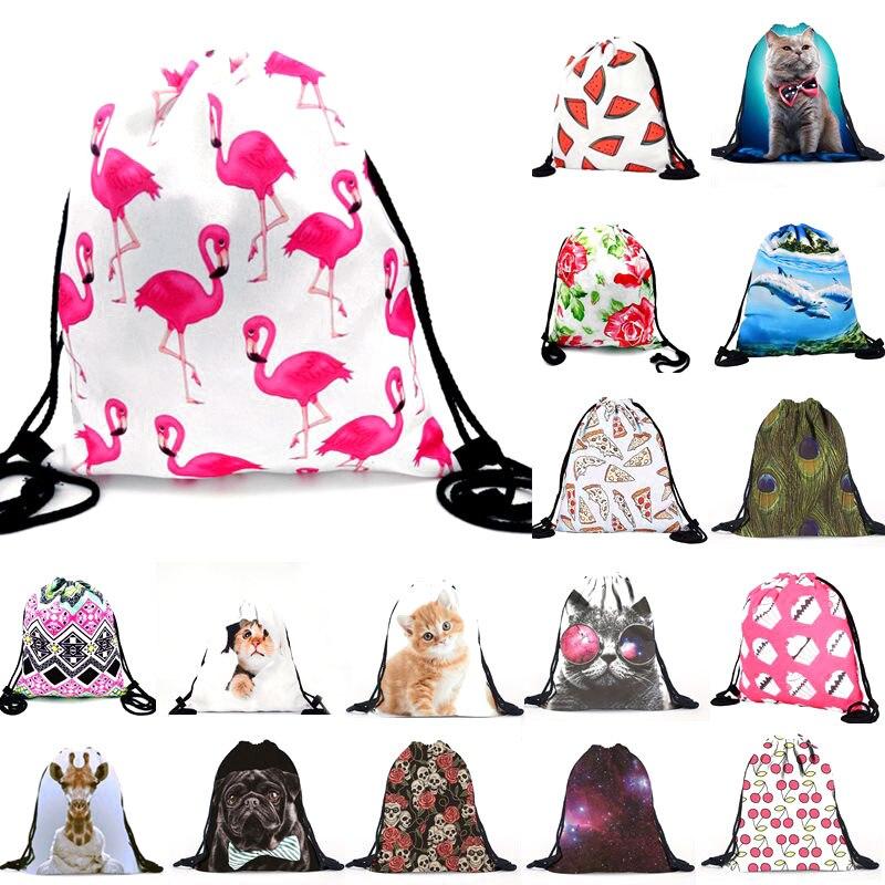 1pcs 30x39cm Cat Flamingo Pattern Storage font b Bag b font Women Men font b Drawstring
