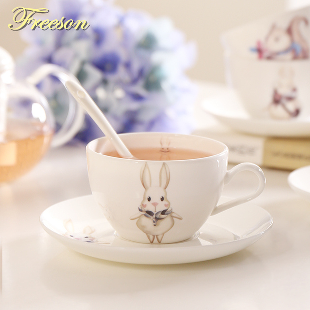 Anese Anime Bone China Tea Cup Saucer Spoon Set Cute Cartoon Ceramic Coffee Kawaii Porcelain