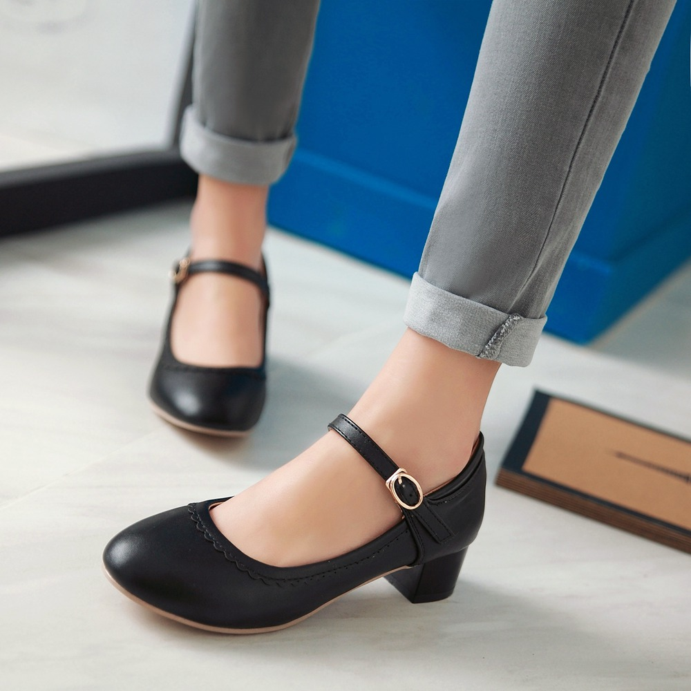Mujeres Jane Talón Primavera 2016 Mujer negro rosado Beige Zapatos Rouned Señoras Trabajo Mary otoño vTwqEqS