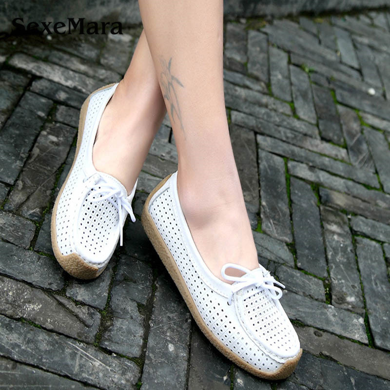 SexeMara New Summer Spring leather Mother shoes Tendon bottom Hollow bow Flat white shoes casual loafers ladies flats
