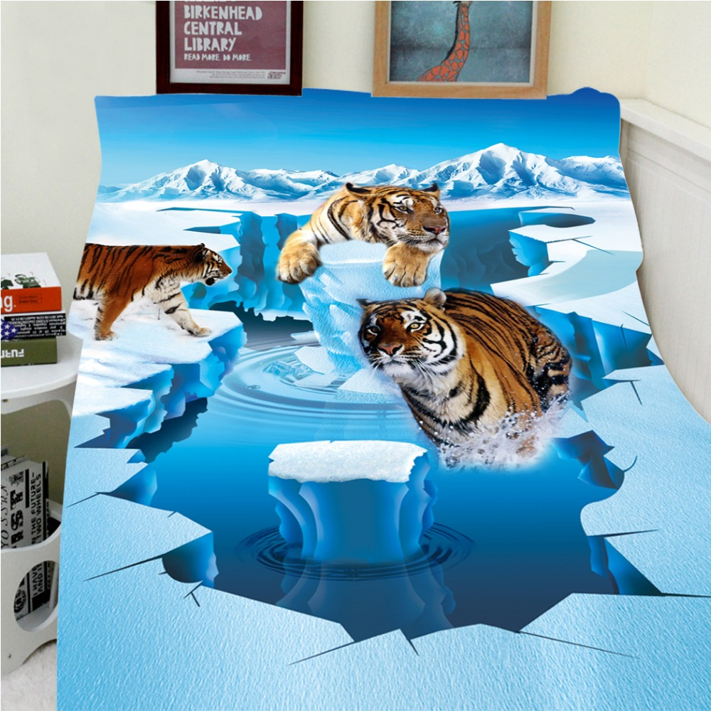 Blankets Warmth Soft Plush Creative 3D Glacier Brown Tiger Animals Sofa Bed Throw a Blanket Thick Thin Cobertor Plaid