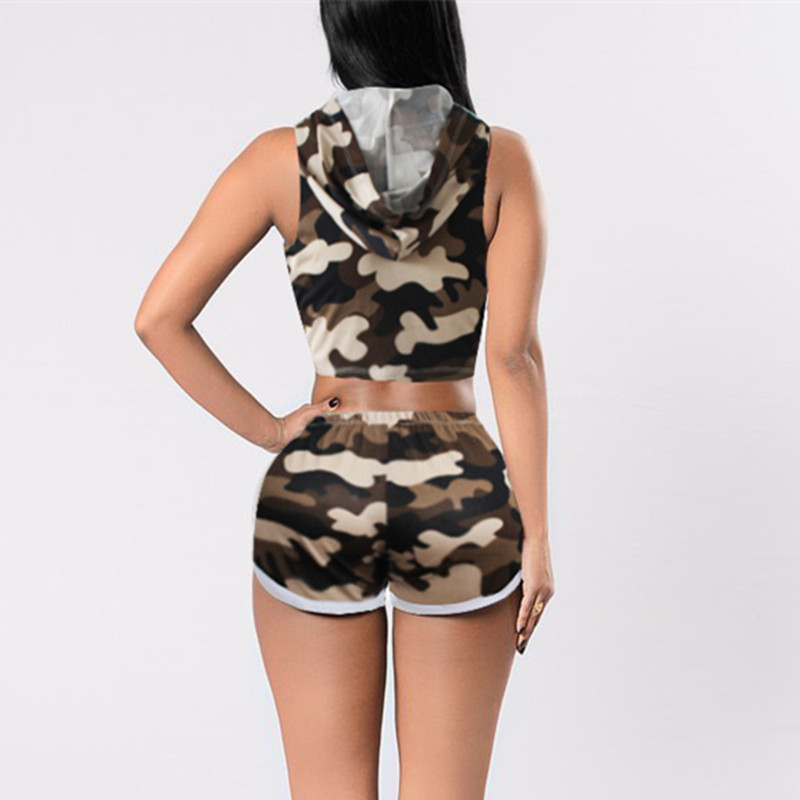 Camouflage Hooded Running Sleeveless Crop Tops (2 Piece Set) 1