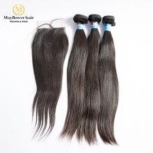 MFH 3/4 пучков Необработанные малазийские прямые волосы с 4x4 швейцарская шнуровка натуральный цвет натуральные волосы