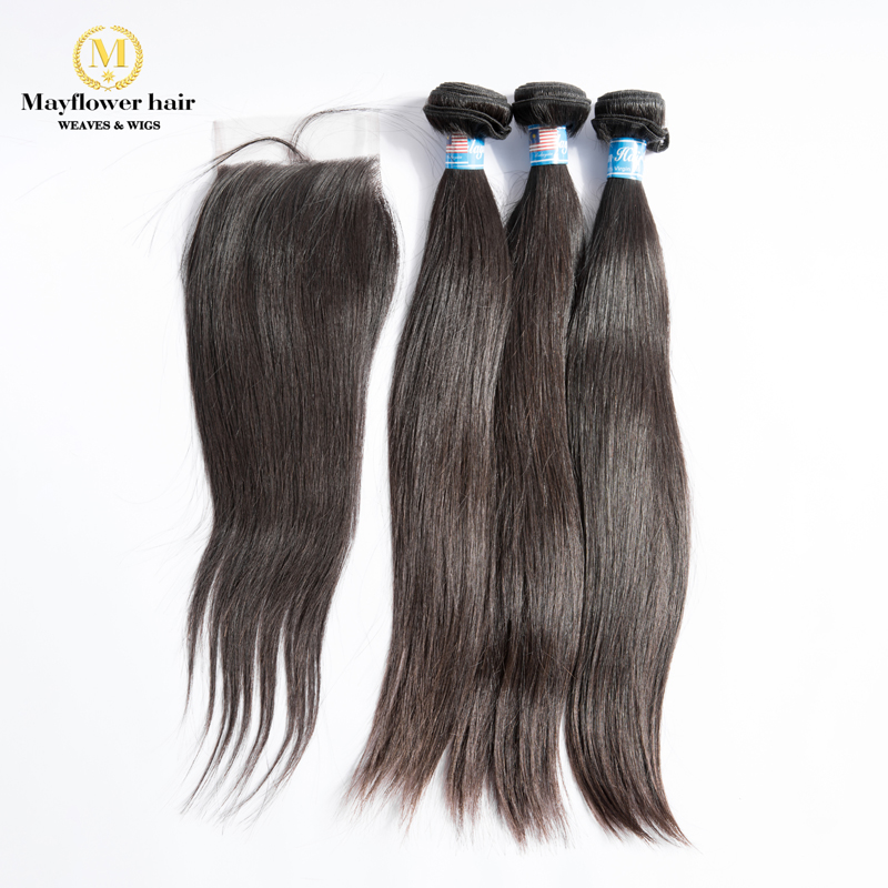 MFH 3/4 Bundles 100% Unprocessed Malaysian Straight Hair With 4x4 Swiss Lace Closure Natural Color Raw Virgin Hair Free Shipping