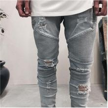 designer Brand new men jeans skinny ripped Stretch Slim fashion hip hop swag man casual denim biker pants overalls Jogger