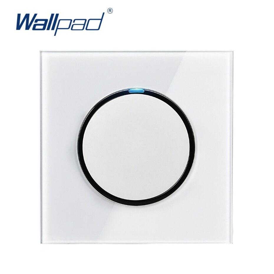 Wallpad L6 LED 1 Gang 1 Way interruptor de luz de pared con botón de pulsación al azar con indicador LED de vidrio templado blanco panel