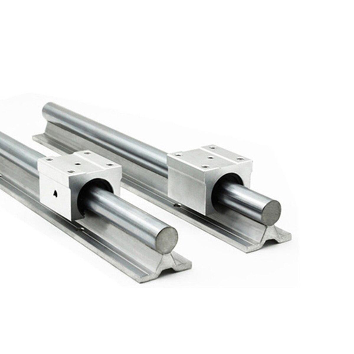 2Pcs SBR16 Linear Rail Guide 300 400 500 600 1000 1200 1500mm + 4pcs SBR16UU Linear Bearing Block Linear Rail Set